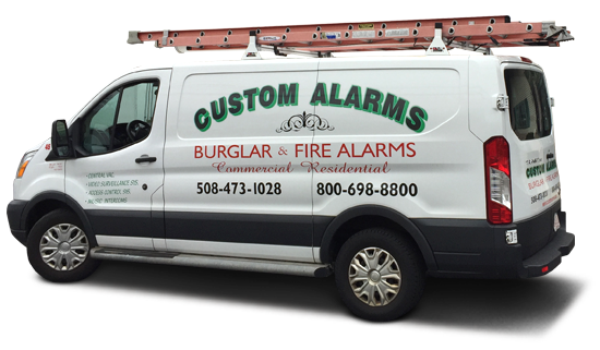 A Custom Alarms van onsite at a job in MA